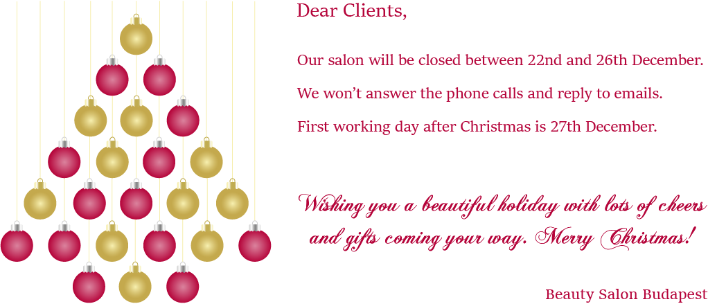 Christmas 2018 beauty salon closed